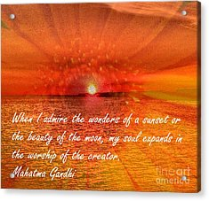 Sunset And Worship Of The Creator By Saribelle Rodriguez Acrylic Print