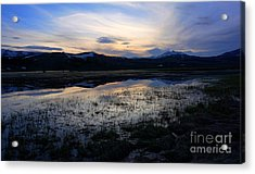 Sunset At A Lake Near Mammoth In Yellowstone Acrylic Print
