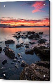 Sunset At Acadia Beach Acrylic Print