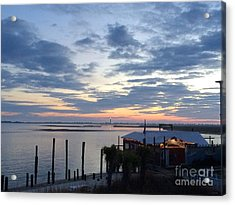 Sunset At American Fish Co       Safe Havens Ivans In Southport Nc Acrylic Print by Shelia Kempf