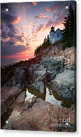 Sunset At Bass Harbor Lighthouse Acrylic Print by Jane Rix