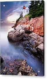 Sunset At Bass Harbor Lighthouse Acrylic Print