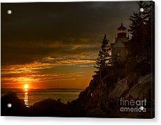 Sunset At Bass Harbor Lighthouse Acrylic Print by Oscar Gutierrez