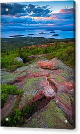 Sunset At Cadillac Mountain Acrylic Print
