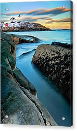 Sunset At Cape Neddick Light- Maine Acrylic Print by Expressive Landscapes Fine Art Photography by Thom