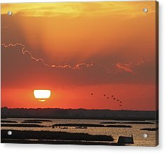 Sunset At Cheyenne Bottoms Acrylic Print