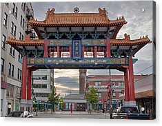 Acrylic Print featuring the photograph Sunset At Chinatown Gate In Seattle Washington by JPLDesigns