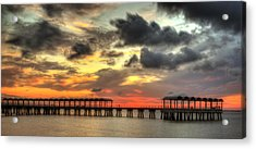 Sunset At Clam Creek Fishing Pier Acrylic Print