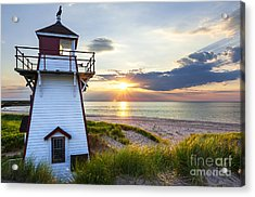Sunset At Covehead Harbour Lighthouse Acrylic Print by Elena Elisseeva