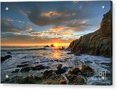 Sunset At Crescent Bay Beach Acrylic Print by Eddie Yerkish