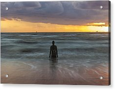 Sunset At Crosby Beach Liverpool Acrylic Print by Paul Madden