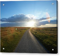 Sunset At End Of Long Country Road Acrylic Print by Dougal Waters