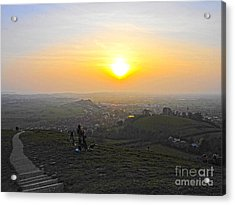 Sunset At Glastonbury Tor Acrylic Print