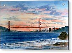 Sunset At Golden Gate Bridge Acrylic Print by John YATO