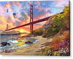 Sunset At Golden Gate Acrylic Print by Dominic Davison