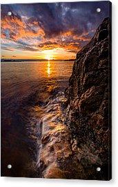 Sunset At Gulf Beach Park Acrylic Print