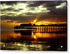 Sunset At Hastings Pier Uk Acrylic Print