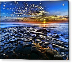 Sunset At La Jolla Tide Pools Acrylic Print by Peter Dang
