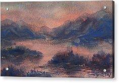 Acrylic Print featuring the painting Sunset At Lake Champlain by Joy Nichols