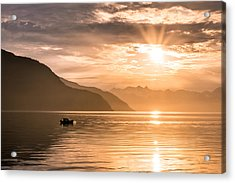 Sunset At Lyngenfjord Acrylic Print by Janne Mankinen