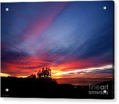 Sunset At Mount Carmel  Haifa 01 Acrylic Print by Arik Baltinester