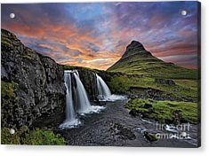 Sunset At Mt. Kirkjufell Acrylic Print by Roman Kurywczak