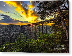 Sunset At New River Gorge Bridge Acrylic Print by Mark East