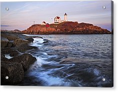 Sunset At Nubble Light Acrylic Print by Eric Gendron