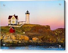 Sunset At Nubble Lighthouse Acrylic Print