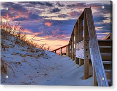 Sunset At Ocracoke Acrylic Print by Steven Ainsworth