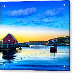 Sunset At Peggy's Cove  Acrylic Print