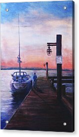 Acrylic Print featuring the painting Sunset At Rocky Point by Sher Nasser