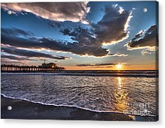 Sunset At Santa Monica. Acrylic Print
