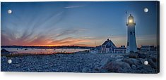 Sunset At Scituate Light Acrylic Print by Jeff Folger