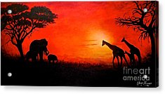 Acrylic Print featuring the painting Sunset At Serengeti by Sher Nasser