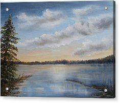 Acrylic Print featuring the painting Sunset At Sparta Lake New Jersey by Katalin Luczay