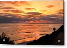 Acrylic Print featuring the painting Sunset At Swami's Encinitas by Michael Pickett