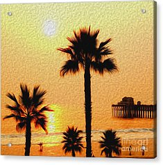 Sunset At The Beach In Oceanside California Acrylic Print
