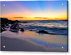 Sunset At The Beach Acrylic Print by Sally Nevin