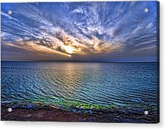Sunset At The Cliff Beach Acrylic Print by Ron Shoshani
