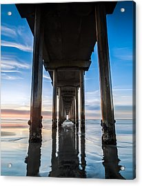 Sunset At The Iconic Scripps Pier Acrylic Print by Larry Marshall