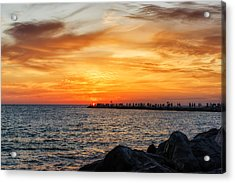 Sunset At The Jetties Acrylic Print by Frank J Benz