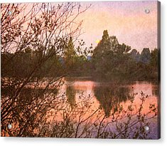 Sunset At The Lake Acrylic Print by Angela Bruno