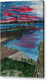 Sunset At The Lake Clay Boat Ramp Acrylic Print