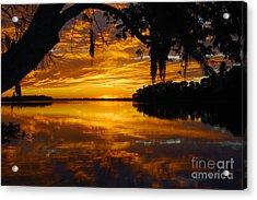 Sunset At The Lake Acrylic Print by Rick Mann