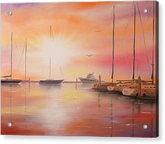 Sunset At The Marina Acrylic Print by Chris Fraser