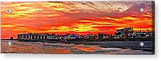 Sunset At The Music Pier Acrylic Print by Nick Zelinsky