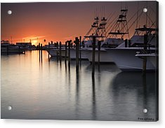 Sunset At The Pelican Yacht Club Acrylic Print by Fran Gallogly