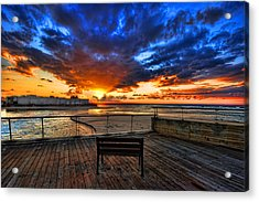 Acrylic Print featuring the photograph sunset at the port of Tel Aviv by Ron Shoshani