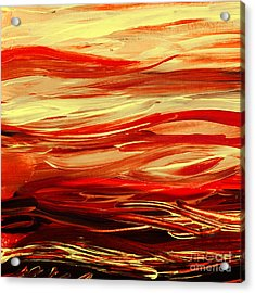 Sunset At The Red River Abstract Acrylic Print